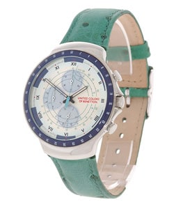 United colors of benetton ivory dial green strap chronograph watch 10220533 for Benetton watches