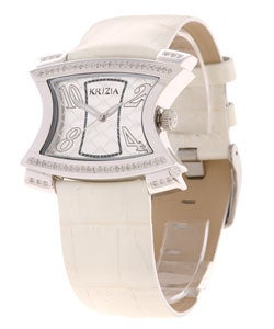 Krizia Women's Silver Dial White Strap Diamond Watch