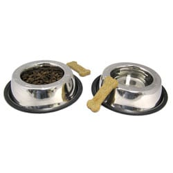 Small Stainless Steel Pet Non-skid Rubber Base Bowls (Set of 2)