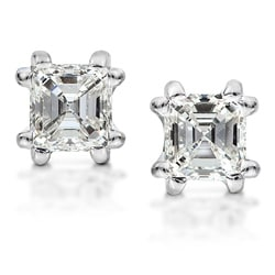 14k White Gold 1ct TDW Asscher Diamond Stud Earring