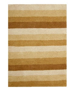 Hand-tufted Tan Stripe Wool Rug (8' x 10')