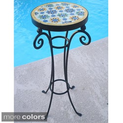 Handmade Mosaic and Iron Accent Table (Morocco)
