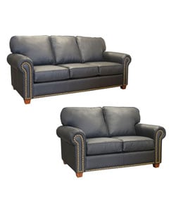 Ebony Leather Studded Sofa and Loveseat