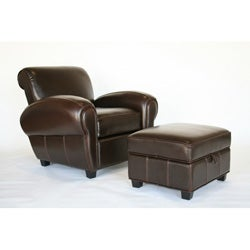 Espresso Brown Reclining Club Chair and Storage Ottoman
