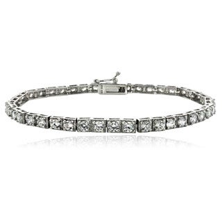 Icz Stonez Sterling Silver/Gold Over Silver CZ Tennis Bracelet