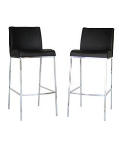 Oakton Black Leather Barstools (Set of 2)