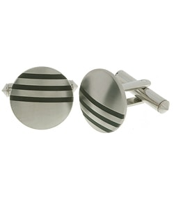 Men's Titanium Cuff Links with Black Rhodium Inlay