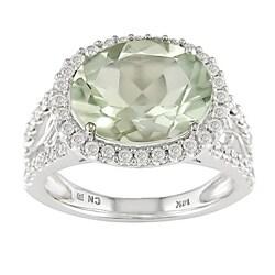 Miadora 14k White Gold 1/2ctw Diamond Green Amethyst Ring