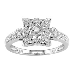 Miadora 14k White Gold 1/6ct TDW Diamond Lightweight Ring