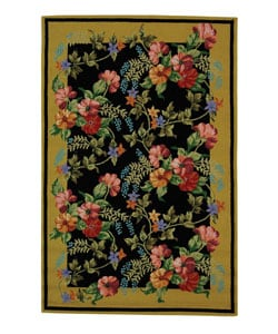 Hand-hooked Midnight Garden Black Wool Rug (5'3 x 8'3)