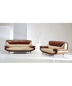 Modern Beige/Brown Leather Sofa and Loveseat Set