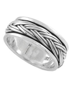 Tressa Sterling Silver Braided Spinner Band