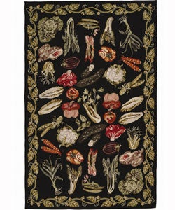 Nourison Hand-hooked Country Style Black Wool Rug (9'6 x 13'6)