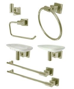 Satin Nickel Complete Bathroom Accessory Set