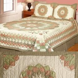 Dahlia Delight Patchwork 3-piece Cotton Quilt Set