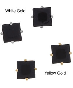 14k Gold Square Black Onyx Stud Earrings