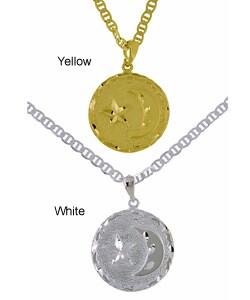 Simon Frank 14k Goldplated Moon and Star Medallion