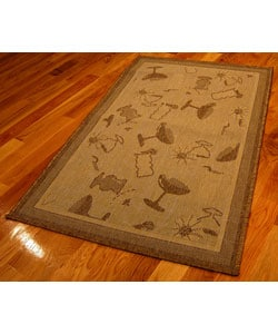 Cocktails Polypropylene Area Rug (5'3 x 7'6)
