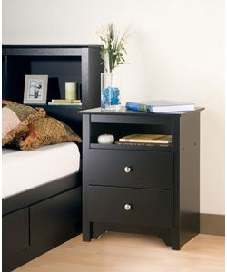 Broadway Black 2-drawer & Open Cubbie Nightstand