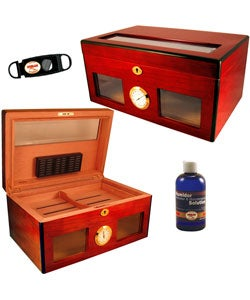 Bravo Glass-top Cherrywood Exterior Humidor Set