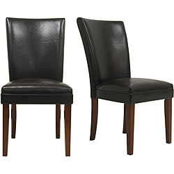 ETHAN HOME Kensington Bicast Leather Parson Side Chairs (Set of 2)