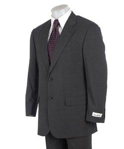 Bill Blass 2 Button Charcoal Wool Blend in Microtec Fabric
