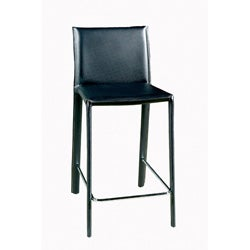 Abbeville Raven Black Leather Counter Stools (Set of 2)
