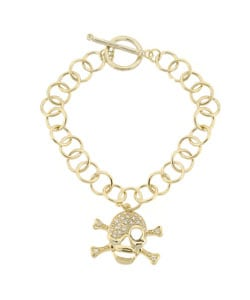 Icz Stonez 18k Gold over Sterling Silver CZ Skull Bracelet
