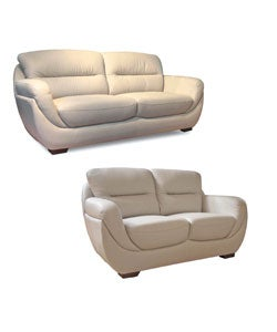 Bone Leather Sofa and Loveseat