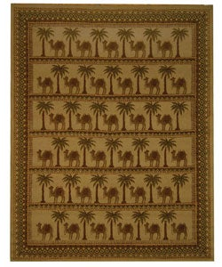 Hand-hooked Camel Ivory/ Camel Wool Rug (8'9 x 11'9)