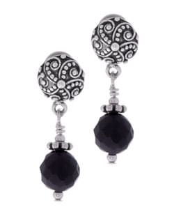 Sterling Silver Charming Life Black Onyx Earrings | Overstock.com