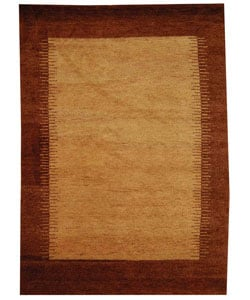 Hand-knotted Gabeh Solo Caramel Wool Rug (6' x 9')