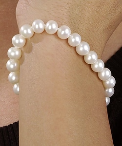 DaVonna 14k Gold White Cultured FW Pearl Bracelet (7.5-8mm)(set of 5)