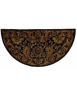 Safavieh Handmade Regal Black/ Burgundy Wool Rug (2'6 x 5' Half Moon)