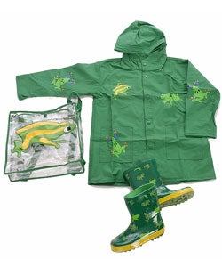 Wippette Kids Boy's 3-piece Frog Raincoat Set