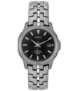 Seiko Men's Black Dial Titanium Watch