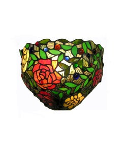 Tiffany-style Red Rose Wall Light