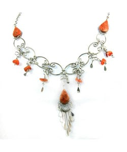 Orange Agate Necklace and Earring Set (Peru)