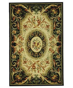 Hand-hooked Fruit Harvest Black Wool Area Rug (6' x 9')