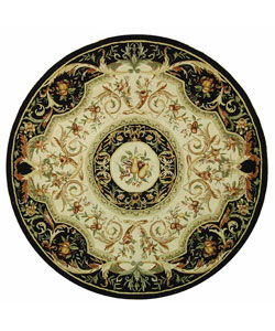 Hand-hooked Fruit Harvest Black Wool Rug (8&#39; Round)