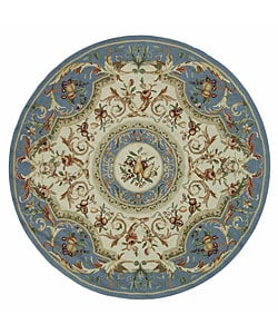 Hand-hooked Fruit Harvest Blue Wool Rug (5'6 Round)