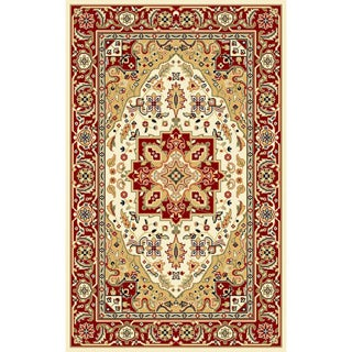 Lyndhurst Collection Ivory/Red Polyester Rug (3'3 x 5'3)
