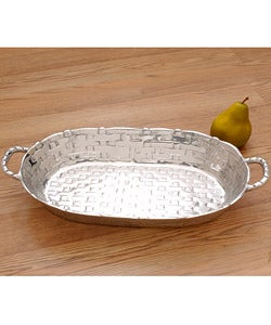 Handmade 'Basket-weave Oval' Pewter Serving Bowl (Mexico) | Overstock.com