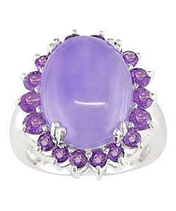 Lavender Jade and Amethyst Sterling Silver Ring