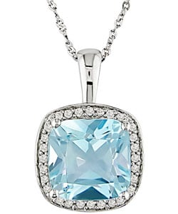14k White Gold 1/10ct Diamond Blue Topaz Necklace