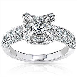 14k Gold 1 1/6ct TDW Princess Diamond Halo Engagement Ring (H-I, I1-I2)