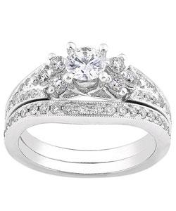 14k White Gold 1ct TDW Round Diamond Wedding Set (H-I, I1-I2)