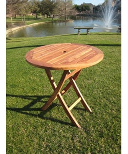 outdoor round 28 inch folding table with umbrella hole 10576065