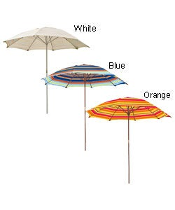 Striped Wooden 6.5-ft. Patio Umbrella