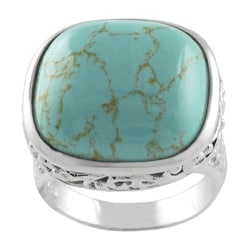Journee Sterling Silver Created Turquoise Filigree Ring